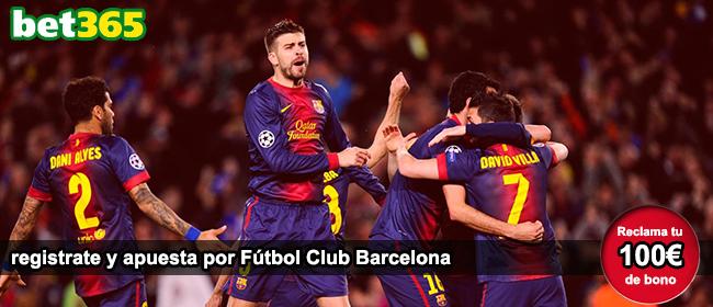 Consigue 100 euros como bono de bienvenida si te registras con Bet365 para apostar por FC Barcelona