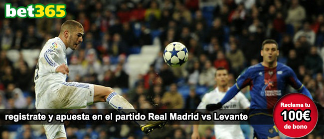 Registrate con Bet365 y apuesta en el partido Real Madrid vs Levante