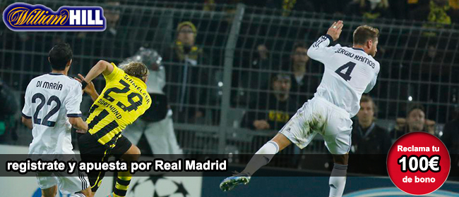 Registrate con William para apostar en el partido Borussia de Dortmund vs Real Madrid