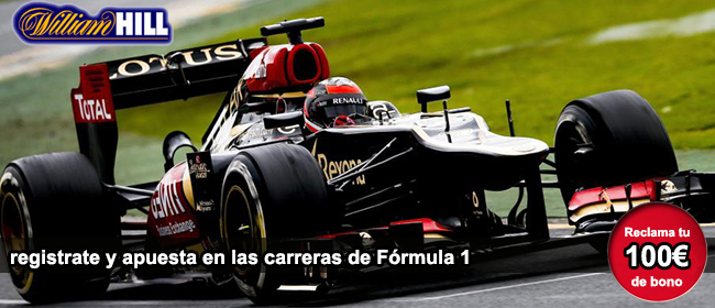 Apuesta en las carreras de formula 1 con William Hill y recibe tu bono de 100 euros