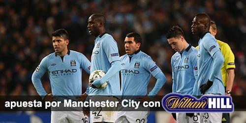 William hill te da 100 euros como bono de bienvenida para empezar apostar por Manchester City