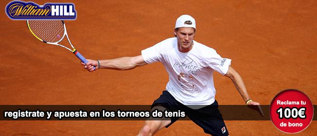 Recibe tu bono de 100 euros si te registras con William Hill para empezar apostar en los torneos de tenis