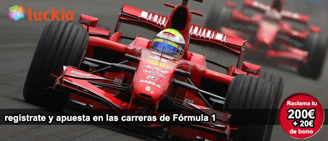 Lukia te da el mejor bono de bienvenida si te registras para apostar en las carreras de formula 1