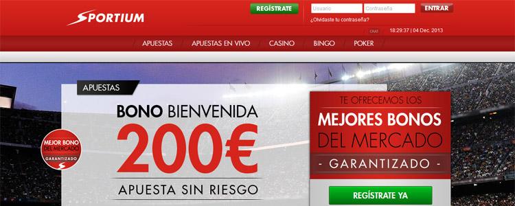 Bono de 200 euros para los nuevos usuarios de Sportium