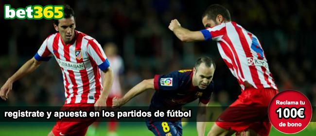 Bet365 te da 100 euros como bono de bienvenida para apostar en los partidos de futbol