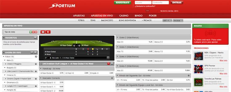 Registrate y apuesta en vivo con Sportium