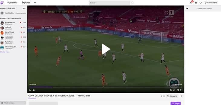 ver fútbol en directo por Twitch