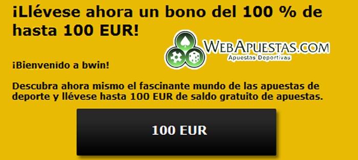 100€ gratis como bono de bienvenida con Bwin