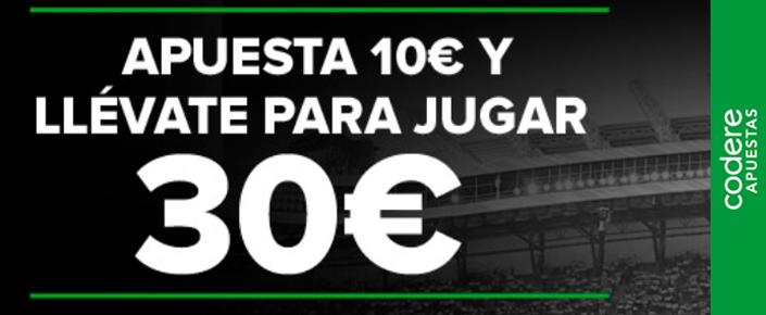Apuesta 10€ y llévate 30€ gratis con Codere