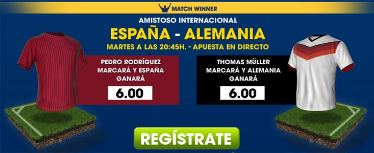 Apuesta con William Hill en el partido amistoso España - Alemania