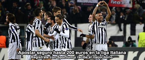 Apostar sin riesgo hasta 200 euros en la liga Italiana