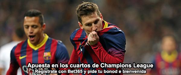 Apuesta en los cuartos de Champions League con Bet365