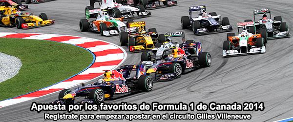 Apuesta por los favoritos de Formula 1 de Canada 2014