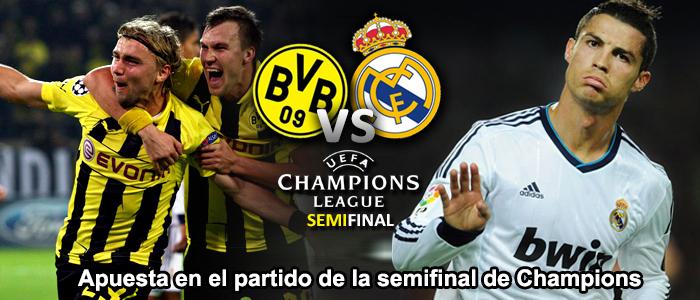 Apuesta en el partido de la semifinal de Champions 2013: Dortmund - Real Madrid