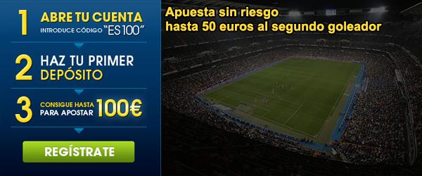 Apuesta sin riesgo hasta 50 euros al segundo goleador