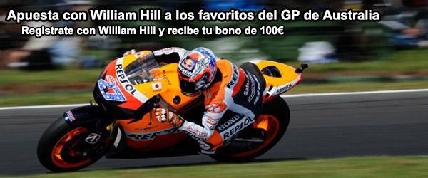 Apuesta con William Hill a los favoritos del GP de Australia