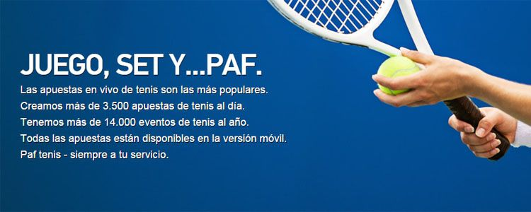 Apuesta en los partidos de tenis con Paf