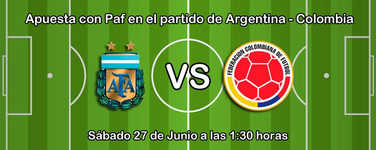Apuesta con Paf en el partido de Argentina - Colombia