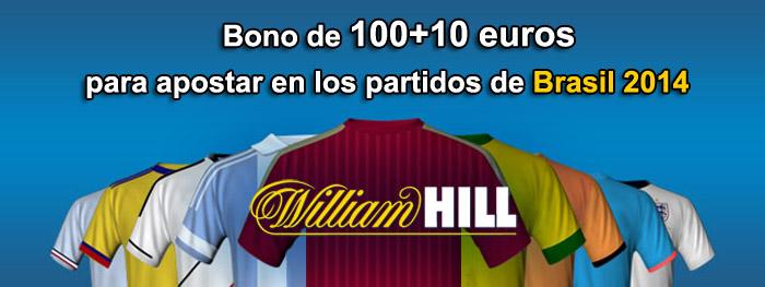 Bono de 100+10 euros para apostar en los partidos de Brasil 2014