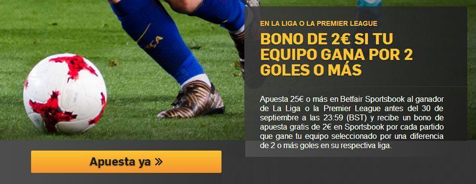 Recibe 2€ gratis si tu equipo gana por 2 goles o más