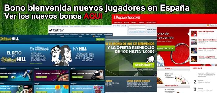 Bono bienvenida nuevos jugadores en España