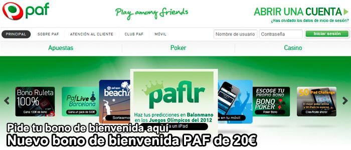 Bono bienvenida Paf de 20€