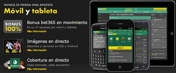 Bet365 ofrece un bono desde móvil hasta 50€