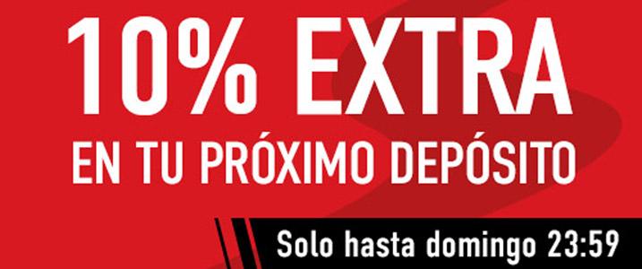 Sportium te ofrece un 10% extra en tu próximo depósito