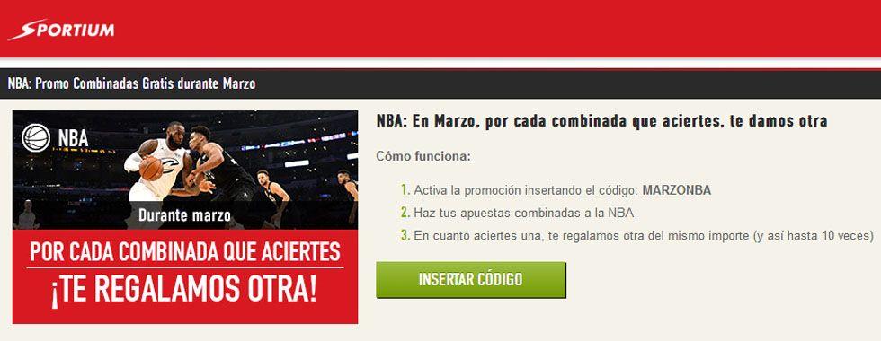 Haz tus apuestas combinadas de NBA con Sportium