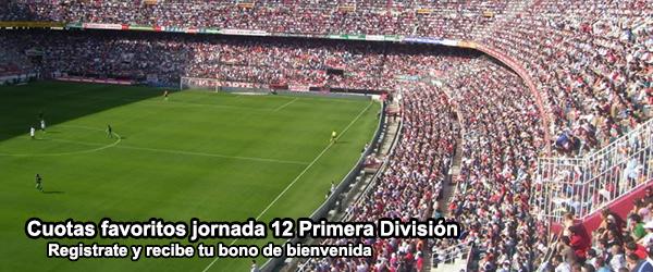 Cuotas favoritos jornada 12 Primera División
