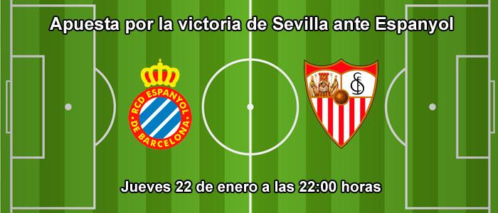 Apuesta por la victoria de Sevilla ante Espanyol
