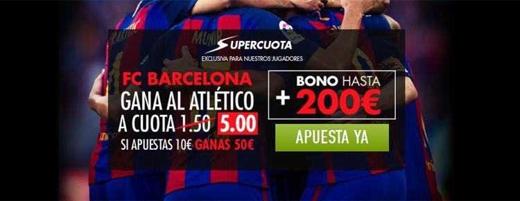 Supercuota por la victoria de FC Barcelona ante el Atlético de Madrid