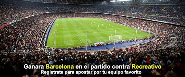 Ganara Barcelona en el partido contra Recreativo