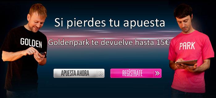 Si fallas tu apuesta, Goldenpark te devuelve hasta 15 euros