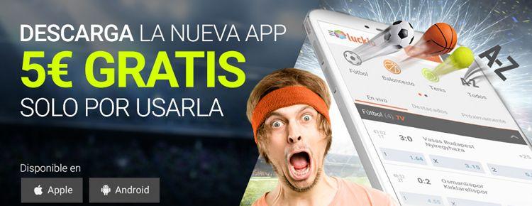 Consigue 5€ con la nueva aplicación de Luckia