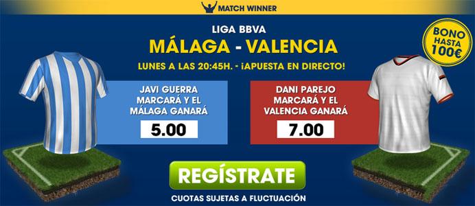 Consejos para apostar en el partido Málaga - Valencia