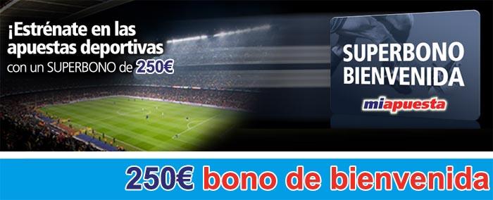 Nuevo bono de bienvenida Miapuesta - 250€