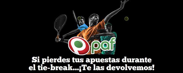 Recupera tus apuestas de tenis en el tie-break con Paf