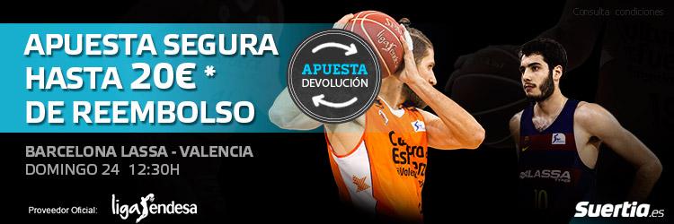 Haz tu apuesta segura en el partido Barcelona Lassa - Valencia Basket
