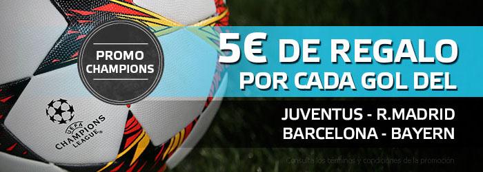 Suertia te ofrece 5€ por cada gol en Champions