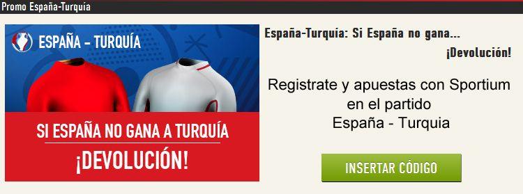 Sportium te devuelte tu apuesta si España no gana a Turquia