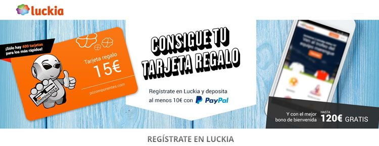 Registrate y recibe tu tarjeta regalo de Luckia