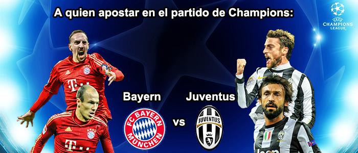A quien apostar en el partido de Champions: Bayern - Juventus