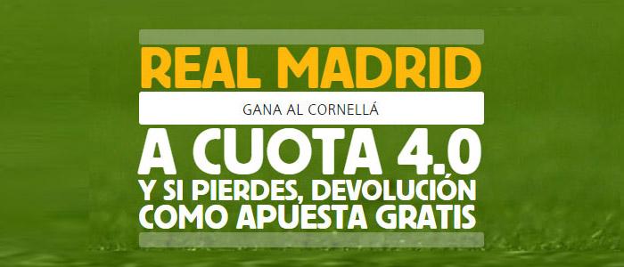 Supercuota de apuestas en Copa del Rey: Real Madrid vs Cornella