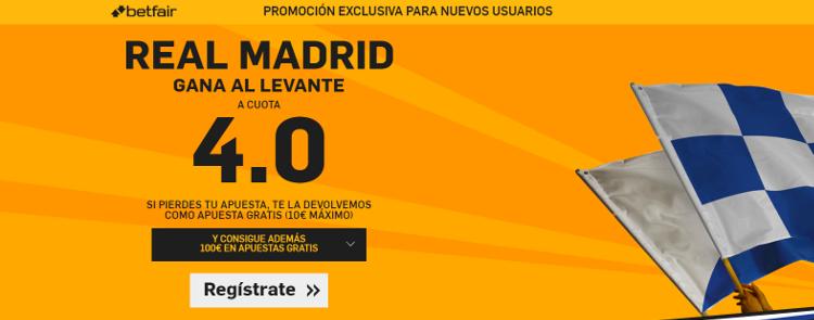 Supercuota por la victoria del Real Madrid ante el Levante