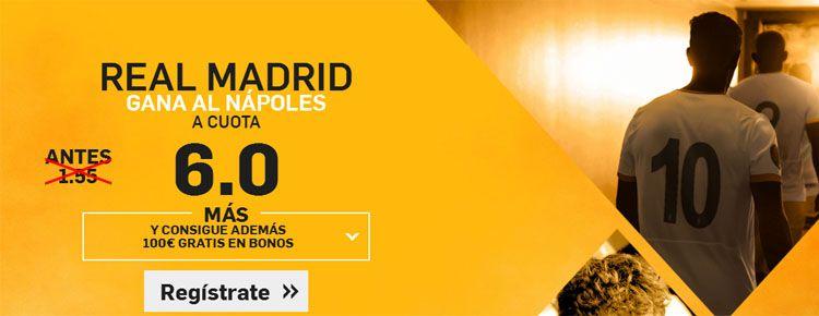 Supercuota por la victoria de Real Madrid ante el Nápoles