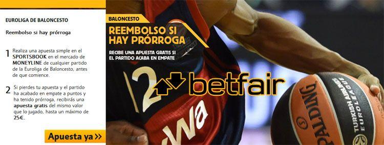 Reembolso si hay prórroga en los partidos de Euroliga de Baloncesto
