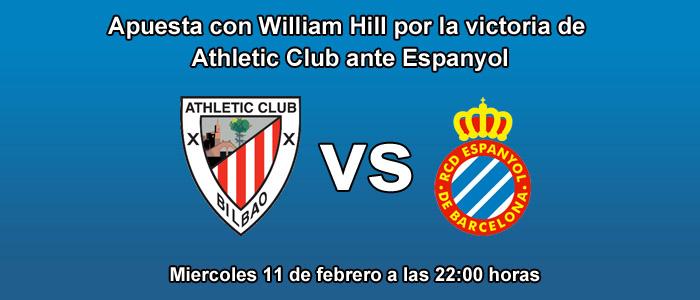 Apuesta por la victoria de Athletic Club de Bilbao ante Espanyol