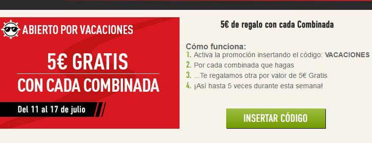 Sportium ofrece 5€ gratis con cada combinada