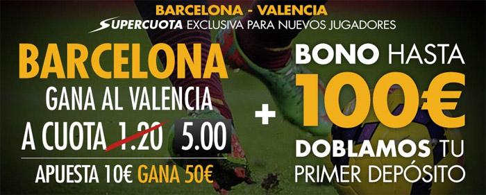 Supercuota Sportium por la victoria de Barcelona ante el Valencia